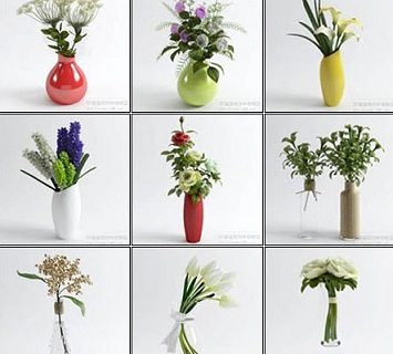 3D66 - Table Vases Flower Collection (2)