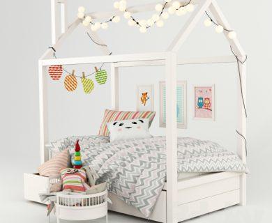 مدل سه بعدی تخت کودک